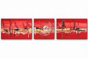 Tableau Triptyque Moderne : triptyque abstrait rouge rectangle grand format tableaux modernes rouge horizontal tendance ~ Teatrodelosmanantiales.com Idées de Décoration