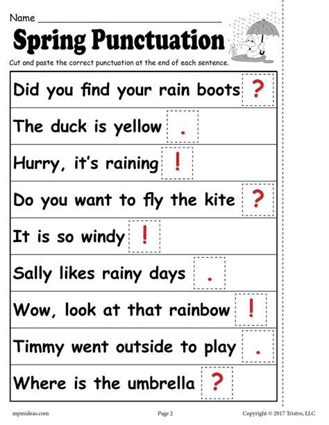 printable spring punctuation worksheet punctuation