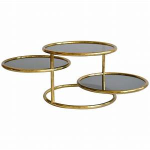 Post modern three tier articulating brass side table for for Three tier glass coffee table