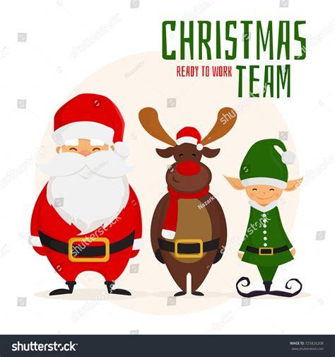 christmas team cartoon santa claus christmas stock vector