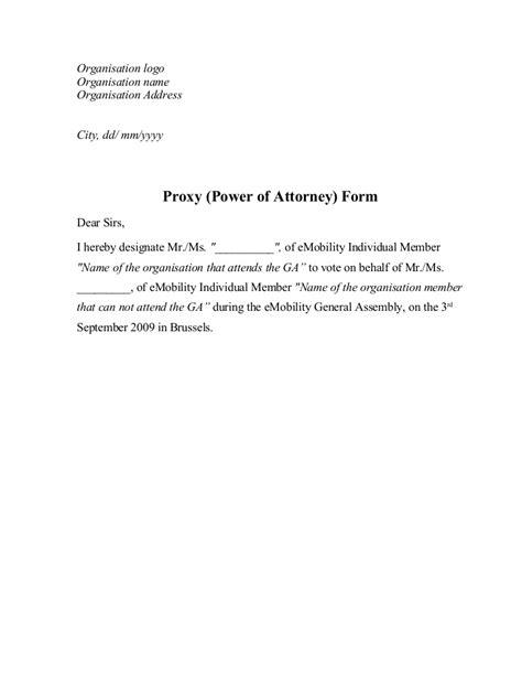 Proxy (Power of Attorney) Form