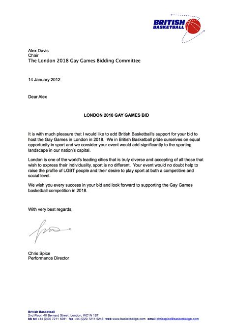 british basketball letter  support gay games london