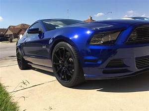 deep impact blue ford mustang gt s197 mrr m350 gloss black mustang specific wheels | PK Auto Design