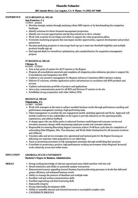 Regional Head Resume Samples | Velvet Jobs
