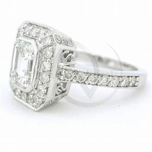 Emerald cut antique style bezel set diamond engagement for Emerald cut diamond wedding ring sets