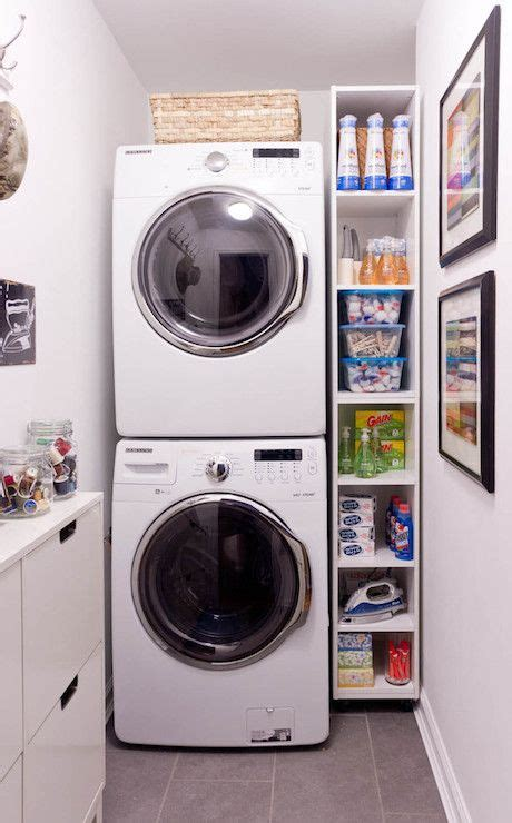 storage in a small kitchen stacked washer dryer and shelving narrow laundry 8377