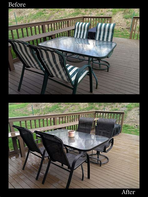 redo your old outdated patio set using spray paint used