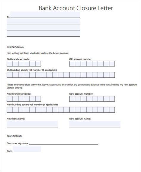 Account Closure Letter Template Bank Letter Templates 13 Free Sle Exle Format