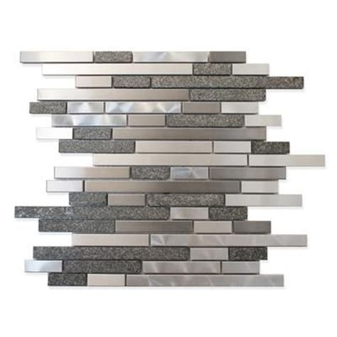 backsplash modamo stainless steel metal and stone linear