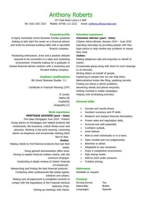 graduate financial advisor cv sle how to write a cv