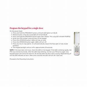 Garage Door Opener Wireless Keypad Programming Instructions