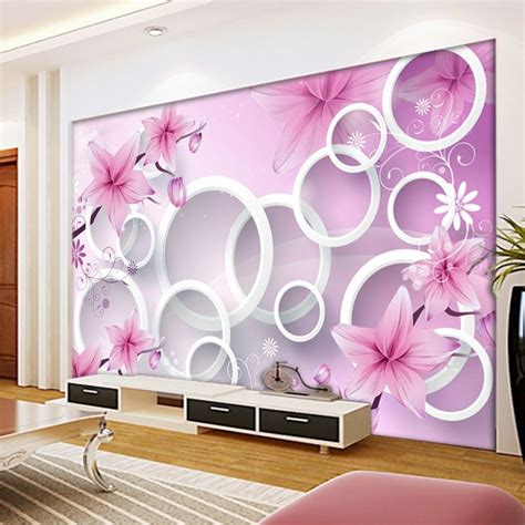 flower wall murals  stereoscopic large circle fantasy