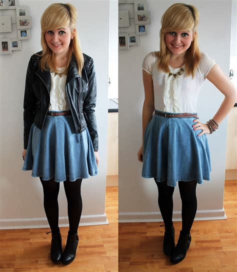 Pics For u0026gt; Denim Skater Skirt Outfit Tumblr