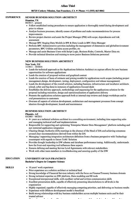 bi solution architect sle resume hr administration