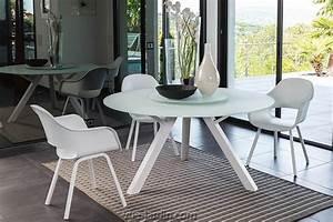 Table Ronde Jardin : circle de talenti table ronde aluminium blanc ou taupe double plateau en verre tremp ~ Teatrodelosmanantiales.com Idées de Décoration