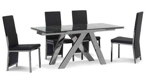 cruz expandable modern dining table  clear glass top