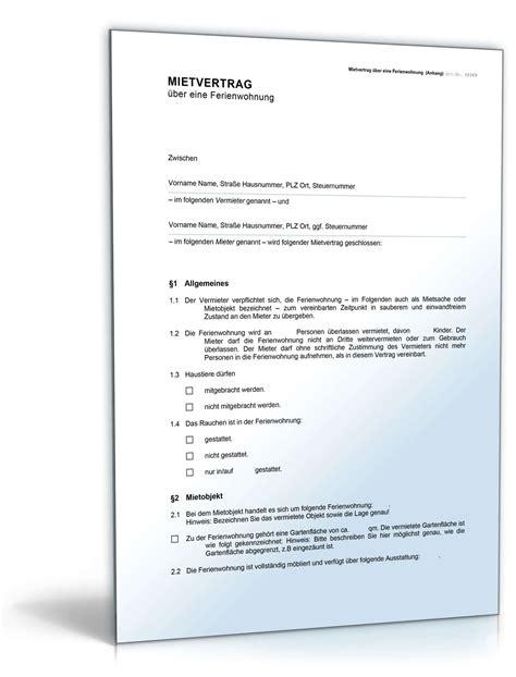 mietvertrag ferienwohnung muster vorlage zum