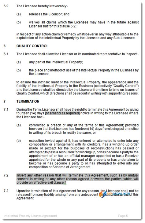 Intellectual Property Licence Agreement Template