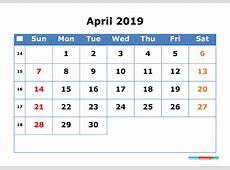 Printable Calendar 2019 April with Week Number 2018 2019