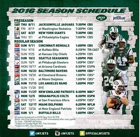 york jets official  nfl regular season schedule