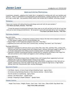 resume for modeling and acting modeling acting professional resume