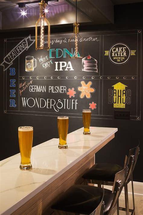 marble top basement bar  chalkboard accent wall