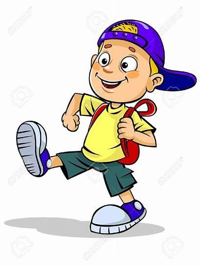 Walking Clipart Boy Kid Bag Walks Illustration