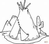 Coloring Pages Teepee Cactus Tipi Printable Drawing sketch template