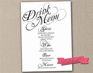 Printable drink menu card diy wedding reception drinks for Wedding drink menu template free