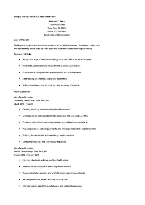 Draft Resume Template by Entry Level Dental Assistant Resume How To Draft An