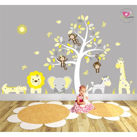 stickers elephant chambre bébé safari fabric nursery wall stickers