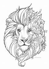 Coloring Lion Adult Printable Fantasy sketch template
