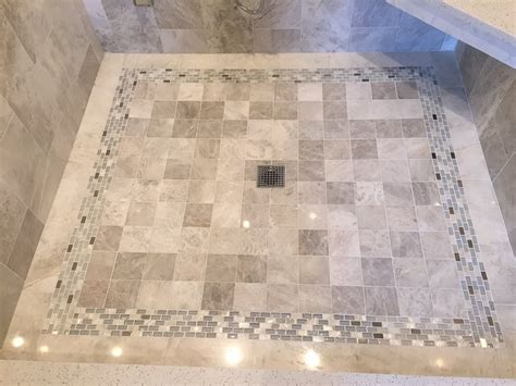 the tile shop skokie shower pan floor in meram blanc 4 quot with coral springs mixed glass accent designed by sharrie