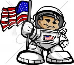 Cartoon Astronaut with Flag