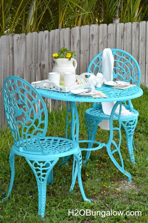 cafe table makeover spring inspiration painted outdoor