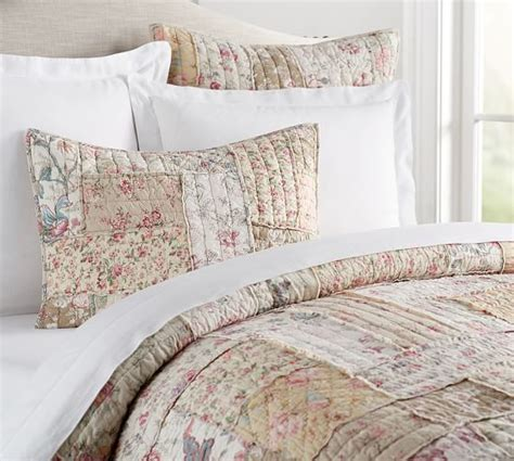 Pottery Barn Coverlets by Madelyn Reversible Floral Patchwork Quilt Sham Pottery