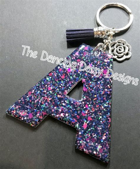 glitter sparkly initials custom acrylic keychain alphabet keychain keychain design glitter