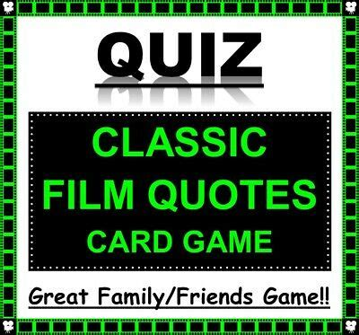 Zoom games for coworkers, friends, family, + kids. 'CLASSIC FILM QUOTES' Pub Quiz Trivia Card Game Zoom Fun Families/Friends | eBay