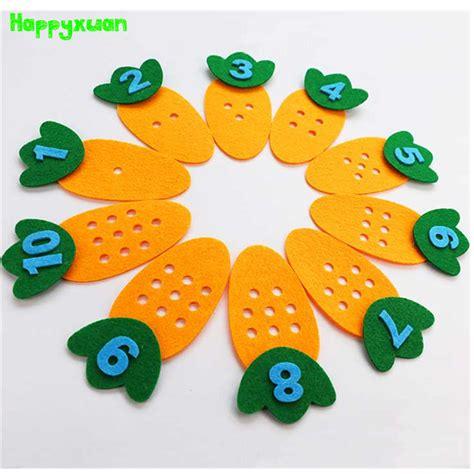 felt carrot points number matching game kindergarten montessori teaching aids preschool children