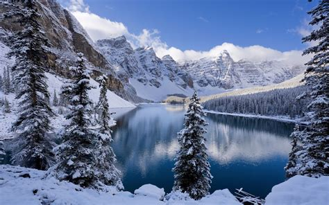 moraine lake  winter canada wallpapers hd wallpapers