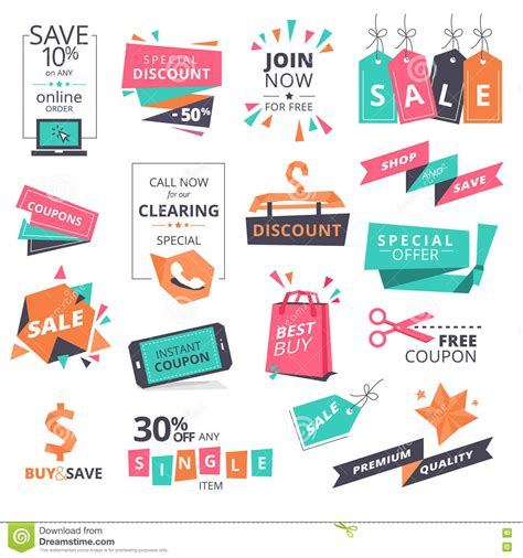 Website Promotion by Set Of Flat Design Style Badges And Coupons For Shopping