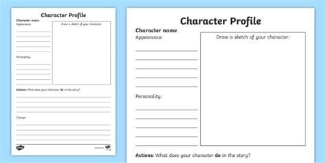 character profile writing template australia education