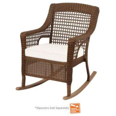 hton bay spring haven brown wicker patio rocking chair
