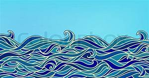 Abstract Waves Background, Vector Blue Colorful Hand-drawn