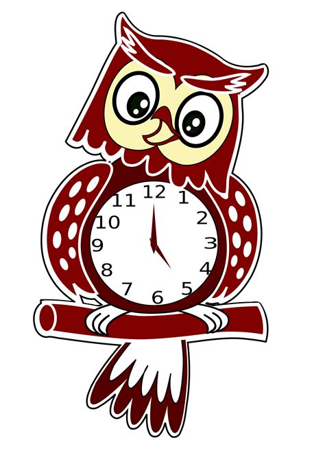 Funny cartoon clock for kids. Owl Clock Vector Clipart image - Free stock photo - Public ...