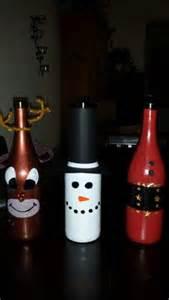 Santa and Reindeer Wine Bottle Snowman