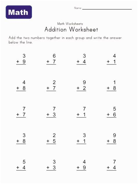 Simple Addition Worksheet 1  Doesn't Require An Account To Download  Kindergarten! Addition