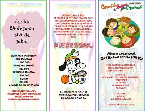 ejemplos de folletos para nios imagui vacaciones recreativas jardin infantil crayolitas creativas