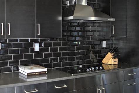 black glass tiles for kitchen backsplashes black kitchen backsplash design ideas