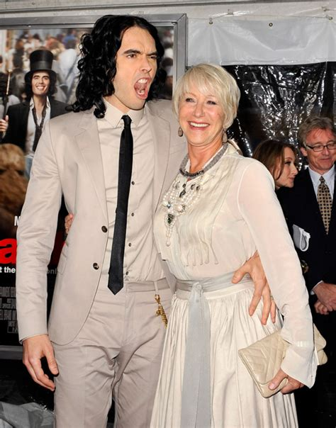 russell brand on bake off russell brand and helen mirren at the arthur premiere in